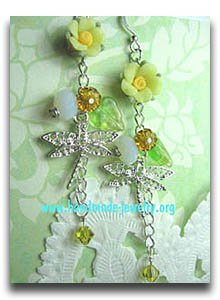 droganfly earrings with glass and czeh beads and clay flowers